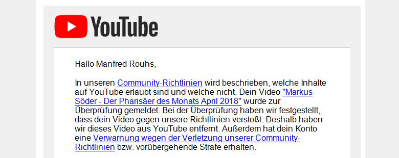 Youtube sperrt Söder-Video